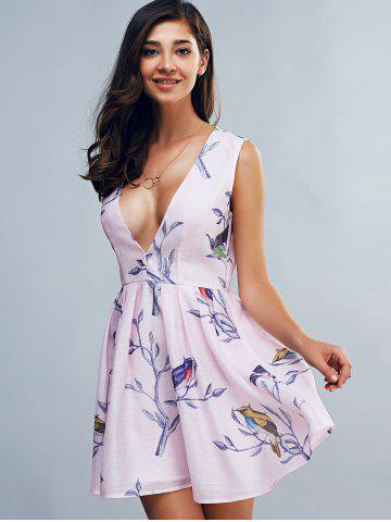 Buy Fashionable Sleeveless Plunging Neck Print Mini Dress - L PINK Mobile