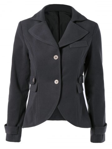 Chic Vintage Lapel Buttoned Elbow Faux Leather Spliced Swallow-Tailed Jacket For Women DEEP GRAY XL