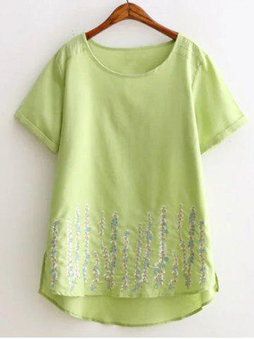 Hot Plus Size Casual Embroidery Cuffed Sleeve Blouse