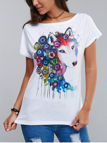 Stylish Flower and Dog Pattern 3D Ink Printing T-Shirt - White - S