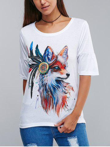 Hot Stylish Wolf Pattern 3D Ink Printing T-Shirt