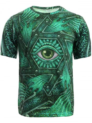 Online 3D Geometric and Print Round Neck Short Sleeve T-Shirt For Men GREEN M