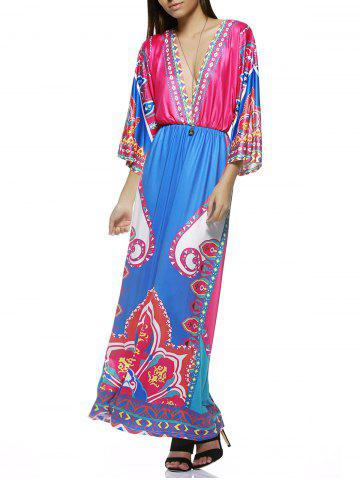 Store Bohemian Plunge Neck Tribal Print Colorful Maxi Dress