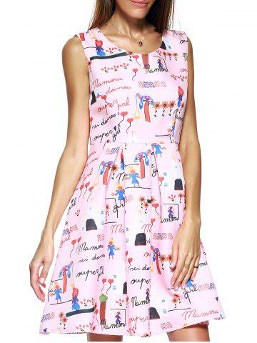 Hot Endearing Scoop Neck Printed Pleated Dress For Women