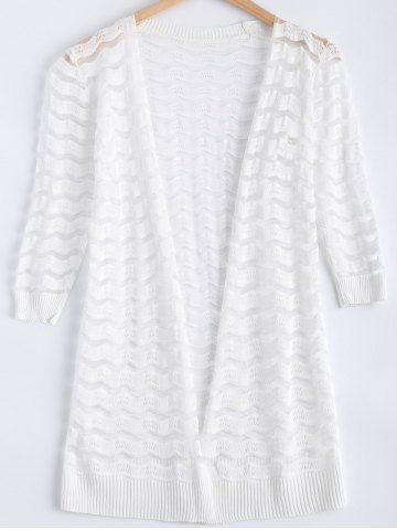 Fancy Ripple Pattern See-Through Cardigan