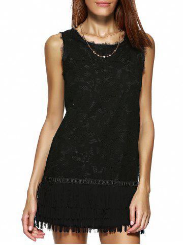 Fashion Stunning Sleeveless Pure Color Lace Dress For Women