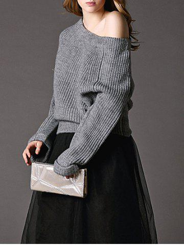 Trendy Pure Color Off The Shoulder Pullover Sweater