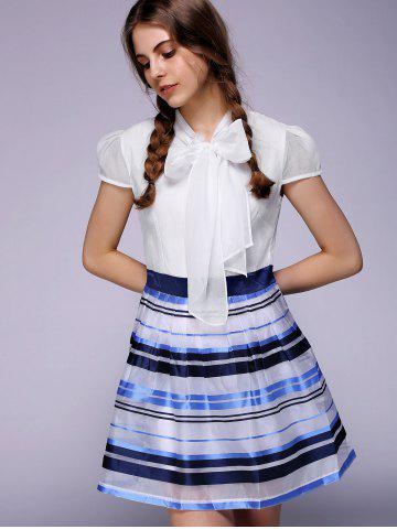 Cheap Endearing Puff Sleeve Bowknot Organza Dress For Women -   Mobile