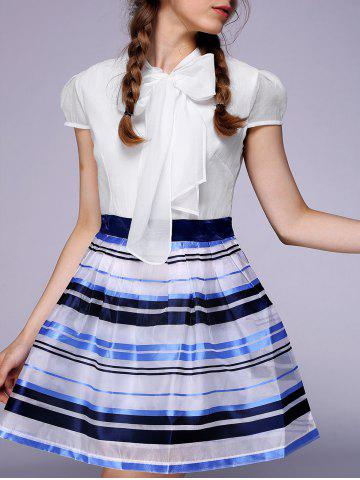 Fashion Endearing Puff Sleeve Bowknot Organza Dress For Women -   Mobile