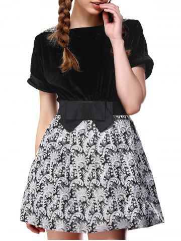 Shop Charming Pleuche Bowknot Bubble Dress For Women