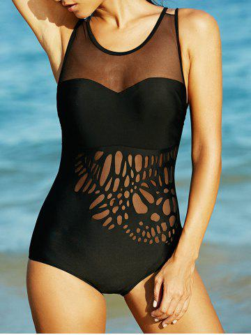 Shop Charming Mesh-Insert Black Hollow Out Women's Swimwear