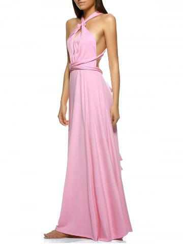 New Elegant Pure Color Multiway Wear Backless Maxi Dress