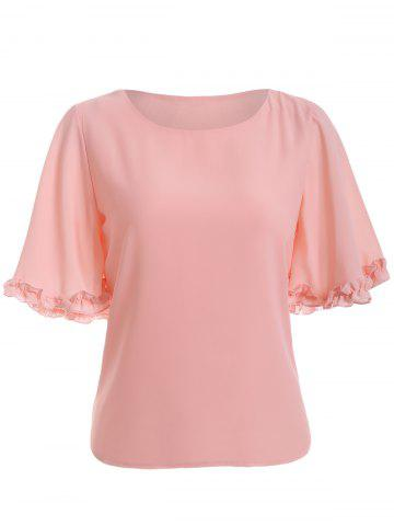 Latest Trendy Flounce Solid Color Chiffon Blouse
