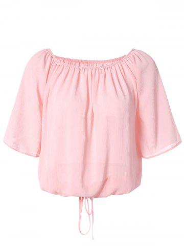 Best Trendy Off The Shoulder Solid Color Chiffon Blouse