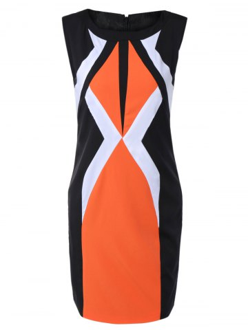 Best Mini Geometric Sheath Dress BLACK/ORANGE 2XL