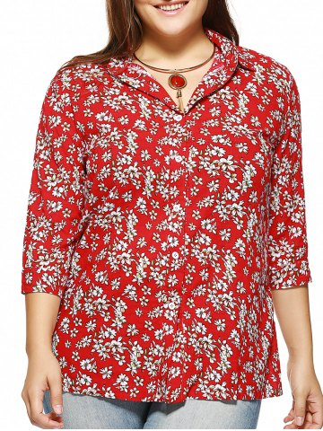 Sale Plus Size Tiny Floral Print Shirt