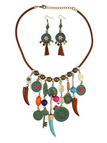 Store Vintage Coin Wolf Tooth Fringe Necklace and Earrings