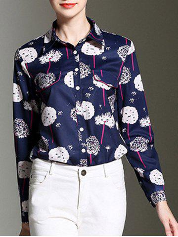 Sale Elegant Women's Dandelion Print Long Sleeves Shirt