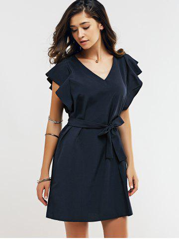 Online Cap Butterfly Sleeve A-Line Dress - XL DEEP BLUE Mobile