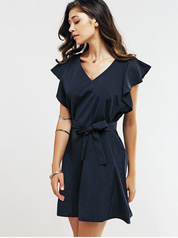 Sale Cap Butterfly Sleeve A-Line Dress - XL DEEP BLUE Mobile