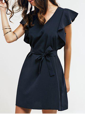 Fashion Cap Butterfly Sleeve A-Line Dress - XL DEEP BLUE Mobile