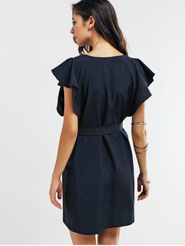 Latest Cap Butterfly Sleeve A-Line Dress - XL DEEP BLUE Mobile
