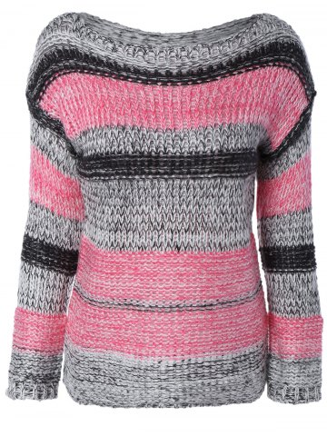 Cheap Long Sleeve Colorful Striped Sweater STRIPE ONE SIZE