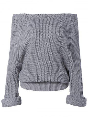 Trendy Pure Color Off The Shoulder Sweater GRAY ONE SIZE