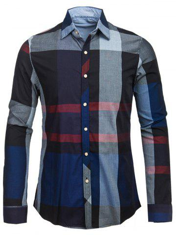 New Plaid Turn-down Collar Long Sleeve Shirt For Men
