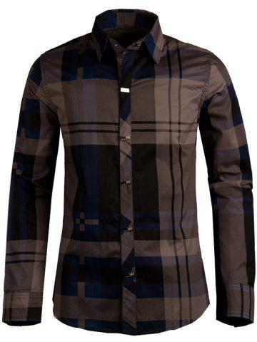 Shop Plaid Snap Button Turn-down Collar Long Sleeve Shirt For Men DEEP BLUE XL