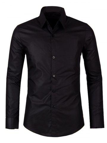 Shop Solid Color Turn-down Collar Long Sleeve Shirt For Men