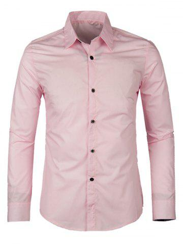 Affordable Solid Color Turn-down Collar Long Sleeve Shirt For Men