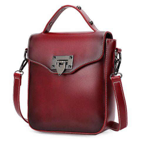 Outfits Retro Style Metal and PU Leather Design Shoulder Bag For Women - WINE RED  Mobile
