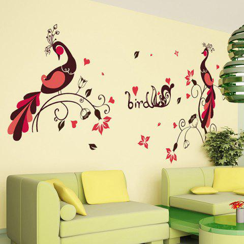 Hot 1 Pcs Love Bird Peacock PVC Removable Wall Stickers