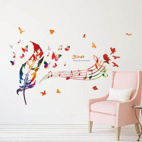 Latest Music Score Feather Removable Waterproof Wall Stickers COLORMIX