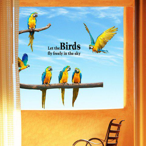 Affordable Macaw Removable Waterproof Wall Stickers Animals COLORMIX