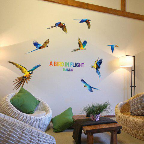 Fancy Colourful Macaw Removable Waterproof Wall Stickers COLORMIX