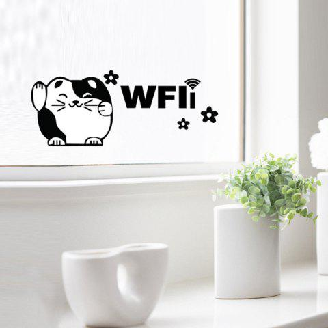 Online Cute Plutus Cat WiFi Removable Glass Pastes Wall Stickers