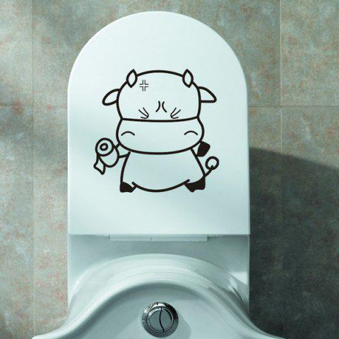 Store Cartoon Lovely Tissue Cattle Wall Stickers For Toilet BLACK