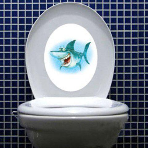 Outfit Cartoon Shark Waterproof Wall Art Stickers For Toilet COLORMIX