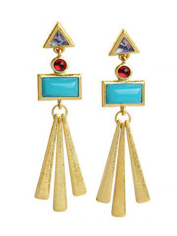 Unique Pair of Rectangle Matchstick Tassel Faux Gem Earrings