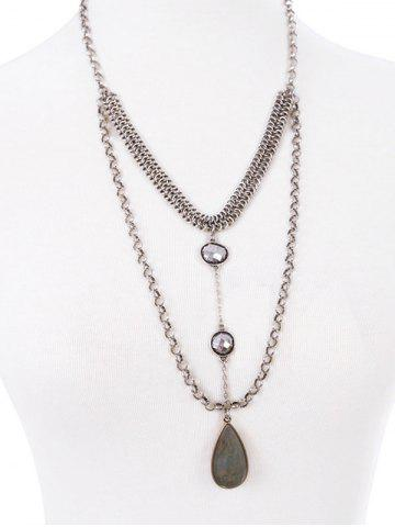 Store Teardrop Faux Crystal Necklace