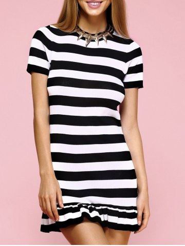New Striped Short Sleeve Mermaid Knit Dress