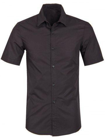 Shop Solid Color Turn Down Collar Short Sleeve Shirt For Men