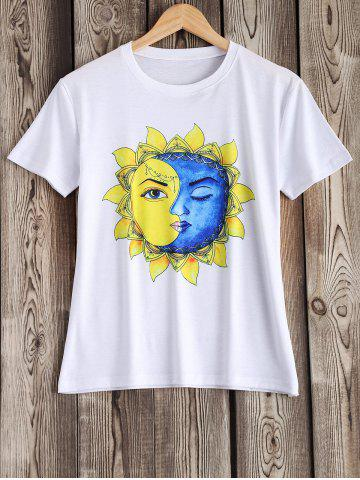 Outfits Artistic Sun and Moon Pattern Tee