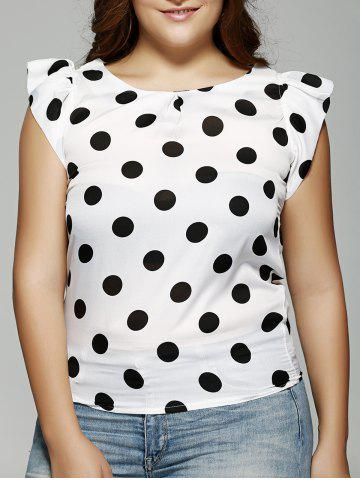Shops Plus Size Polka Dot Ruffle Sleeve T-Shirt