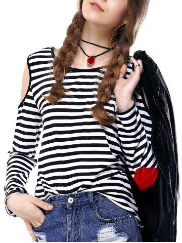 Outfits Elbow Patch Striped Cold Shoulder T-shirt