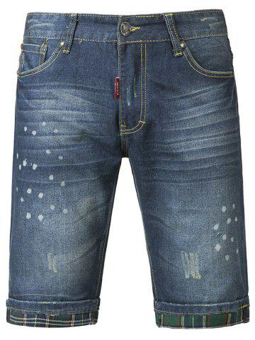 Chic Chic Polka Dot Print Mid-Wash Jeans Shorts For Men