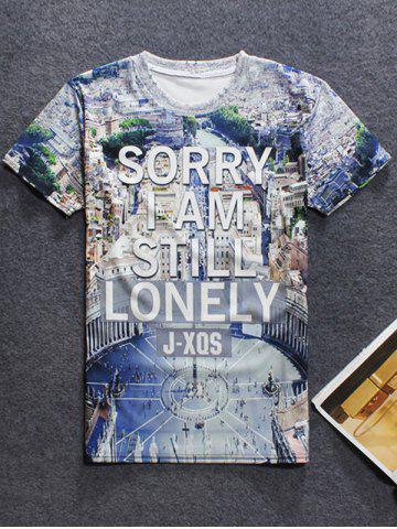 Buy Round Neck Short Sleeve 3D City View Printed T-Shirt For Men