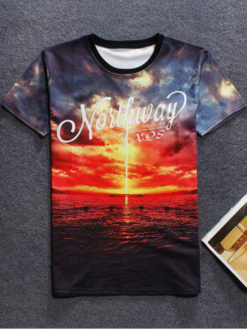 Outfits 3D Sunset Printed Crew Neck T Shirt RED 2XL